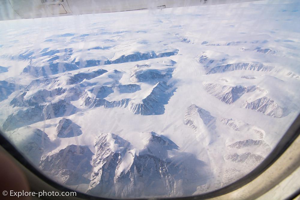 Vue aérienne de Baffin island par avion parc Auyuittuq